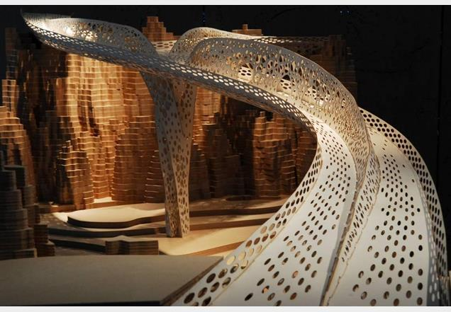 Another view of the laser-cut model of the Shi Ling bridge showing the pedestrian and cycle routes.